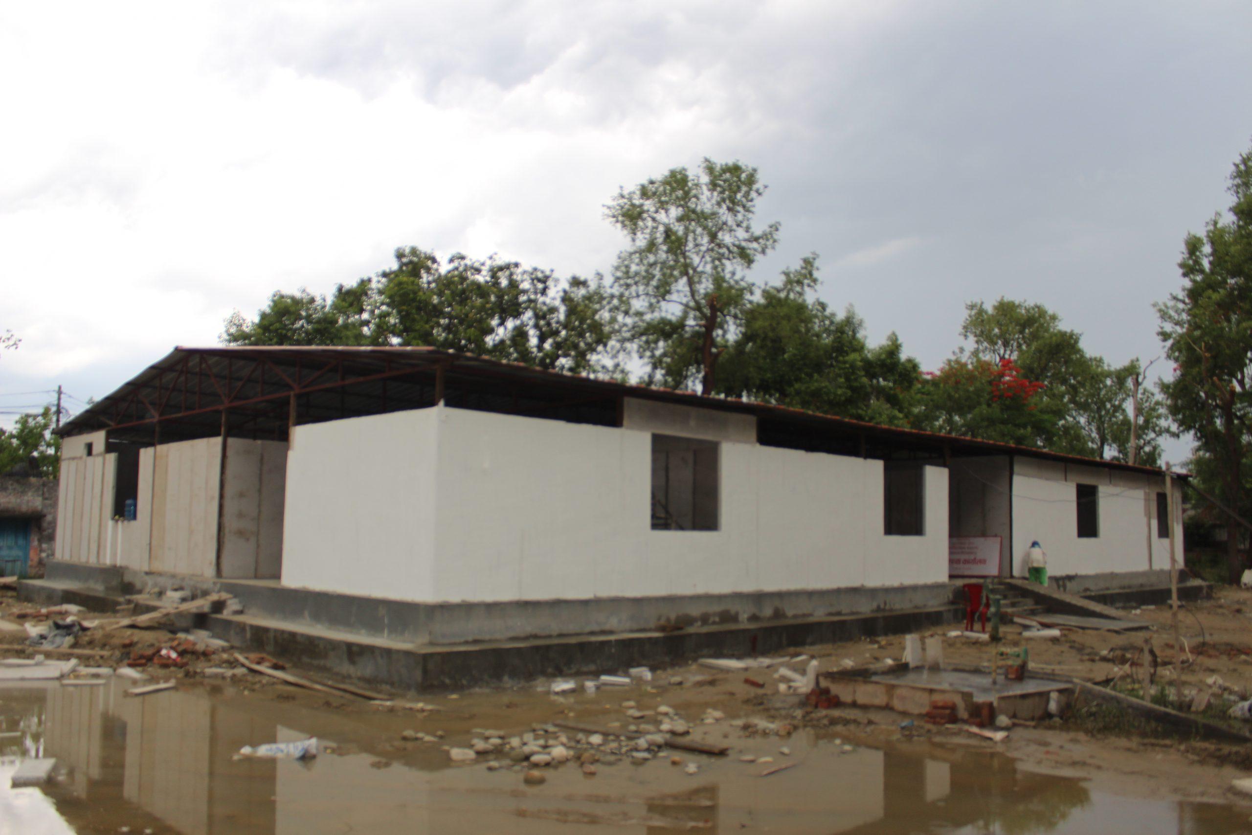 काेराेना उपचार भवनकाे निर्माण अन्तिम चरणमा
